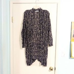 Lush Long Blue and White Cable Knit Open Cardigan